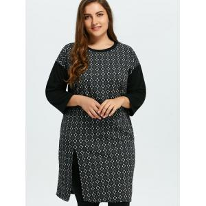 Plus Size Slit Argyle Dress -