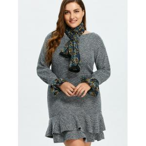 Long Sleeve Plus Size Mermaid Dress With Scarf -
