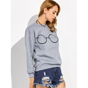 Pullover Glasses Print Sweatshirt - GRAY XL