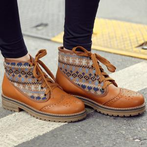 Knit Panel Wingtip Boots -