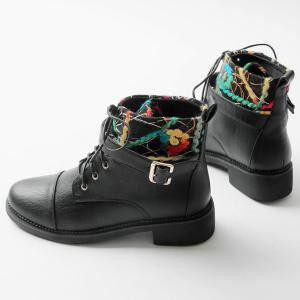 PU Leather Panel Buckle Strap Short Boots -