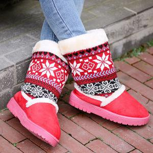 Mid Calf Knit Panel Snow Boots - RED 39