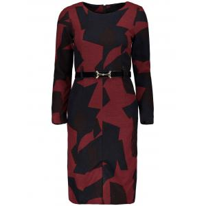 Long Sleeve Graphic Slit Belted Sheath Dress