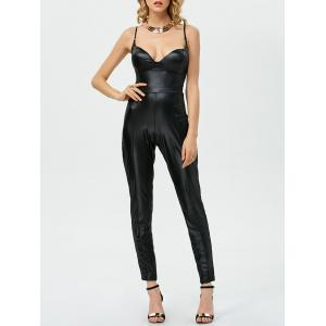 Sleeveless Open Back Faux Leather Jumpsuit - Black - S