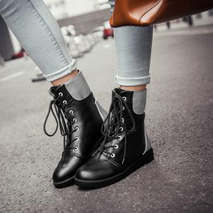 Round Toe Lace Up Color Block Ankle Boots - BLACK 39