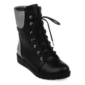 Round Toe Lace Up Color Block Ankle Boots - Black - 37