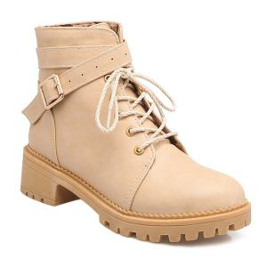 Vintage Cross Strap Buckle Ankle Boots - Apricot - 39