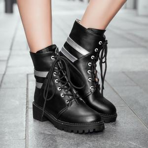 Round Toe Panel Lace Up Ankle Boots - BLACK 39