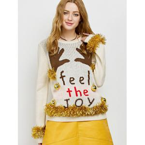 Embellished Christmas Knit Sweater with Bells - Beige - M