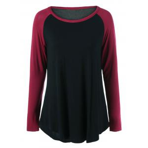 Plus Size Long Raglan Sleeve Curved Hem T-Shirt - Red With Black - 5xl