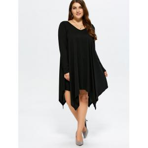 Asymmetrical Casual V Neck Long Sleeve Dress - BLACK XL