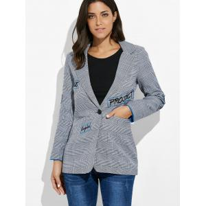 One Button Letter Embroidery Blazer - GRAY XL