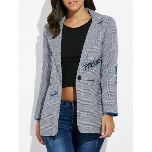 One Button Letter Embroidery Blazer - Gray - L