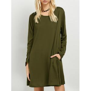 Long Sleeves T-Shirt Dress - Army Green - S