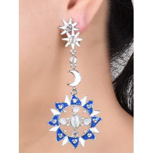 Artificial Pearl Opal Moon Star Earrings -
