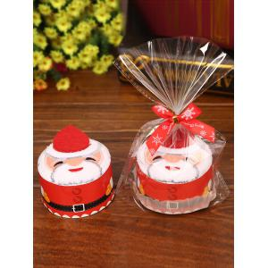 Christmas Decorating Supply Best Gift Santa Pattern Cupcake Towel - White