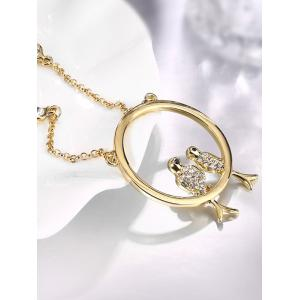 Rhinestone Birds Circle Necklace - GOLDEN