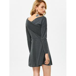 Backless Criss Cross Bandage Casual Jersey Knit  Dress - DEEP GRAY L