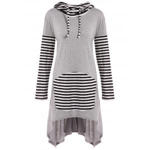 Hooded Asymmetrical Stripe Insert Dress - Gray - S