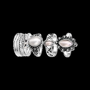 Artificial Opal Oval Ring Set