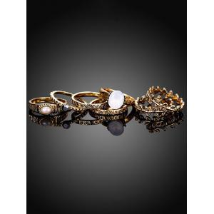 Artificial Pearl Leaf Ring Set -