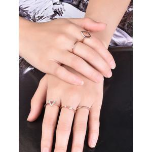 Rhinestone Triangle Ring Set - ROSE GOLD 7