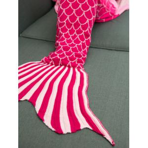 Ombre Color Knitting Fish Scales Design Mermaid Tail Style Blanket - DEEP PINK