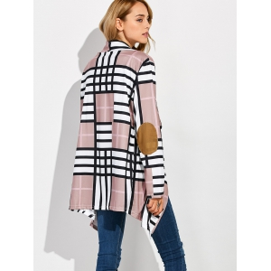Open Front Grid Elbow Patch Coat - PALE PINKISH GREY XL
