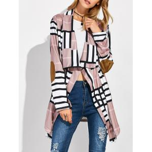 Open Front Grid Elbow Patch Coat