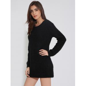 Furry Backless Tunic Knitted Jumper Dress -