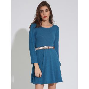 Long Sleeve Plain Dress with Belt - LAKE BLUE XL