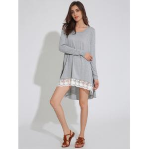 Long Sleeve Asymmetric Swing Dress with Lace - LIGHT GRAY XL