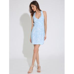 Backless Lace Short Tight Homecoming Dress - CLOUDY XL