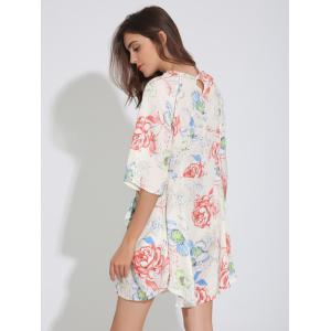 Floral Print Raglan Sleeve Tunic Dress - OFF-WHITE XL