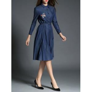 Vintage Button Up Beaded Embroidery Chambray Shirt Dress - DEEP BLUE XL