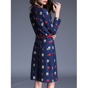 Lip Print Belted Dress with Pockets -
