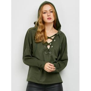 Slouchy Lace Up Hoodie - Vert Armée XL