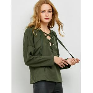 Slouchy Lace Up Hoodie -