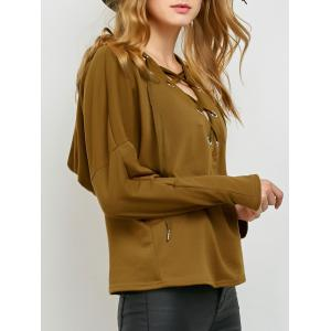 Slouchy Lace Up Hoodie - Khaki - Xl