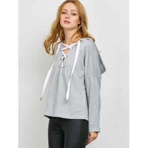 Slouchy Lace Up Hoodie - Gris Clair XL