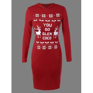 Christmas Snowflake Deer Print Hoodie Dress - Red - S