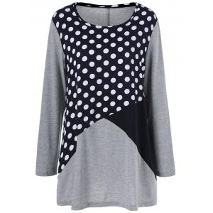 Plus Size Polka Dot Trim T-Shirt - Colormix - 5xl