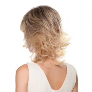 Meidum Shaggy Inclined Bang Layered Tail Upwards Human Hair Wig -