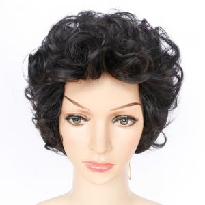 Short Shaggy Layered Wavy Synthetic Wig - BLACK