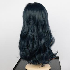 Long Side Bang Fluffy Wavy Synthetic Wig - DEEP BLUE