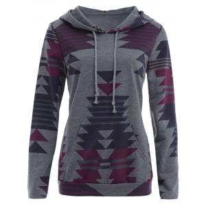 Drawstring Geometric Print Hoodie with Pocket