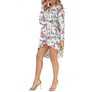 Long Sleeves Floral Print High Low Dress -