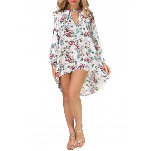 Long Sleeves Floral Print High Low Dress