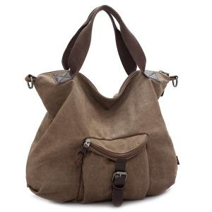 Buckle Strap Canvas Handbags - Brown