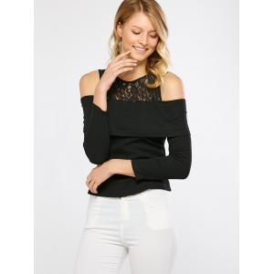 Cold Shoulder Lace Trim T-Shirt -